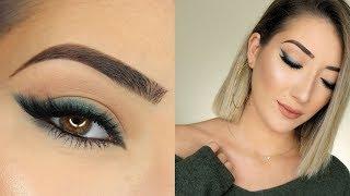 Green Smokey Winged Eyeliner Makeup Tutorial