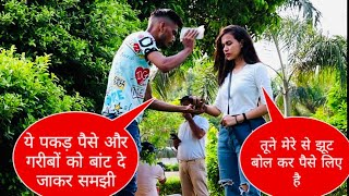 Ask  money for food random girl prank with twist Epic reaction Ak malik