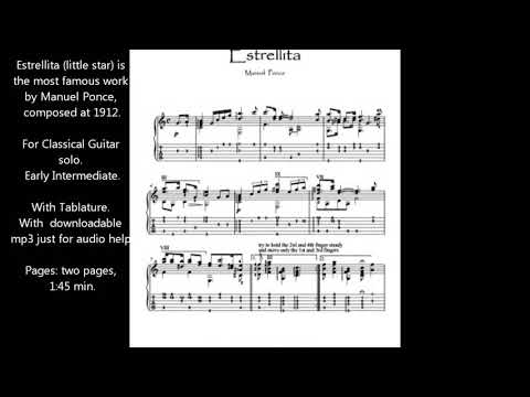 Estrellita guitar solo sheet music