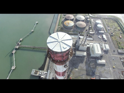 Flying Above Dublin's Poolbeg Chimneys