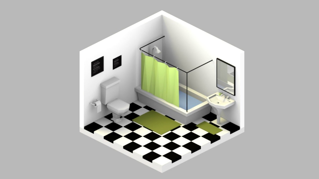 Speed Modeling Bathroom Interior Isometric View Youtube
