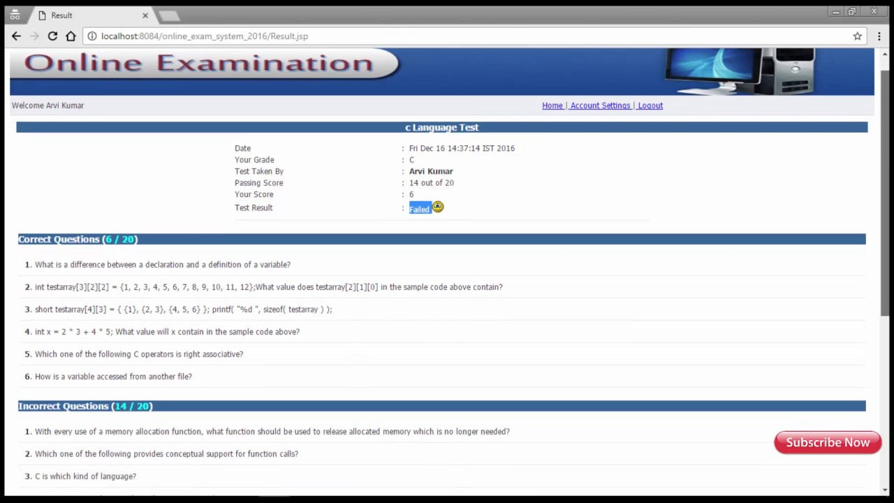 Online Examination System (Advance Java Project)