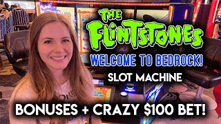 NEW! Fintstones Slot Machine! BONUSES + CRAZY $100 GAMBLE!!