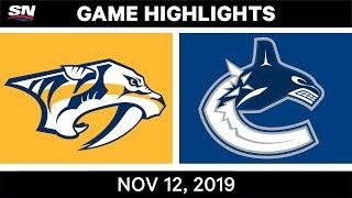 NHL Highlights   Predators vs Canucks – Nov. 12. 2019