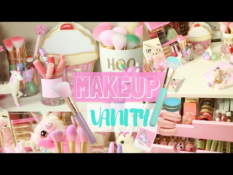 WHATS ON MY MAKEUP VANITY? ll HOW I STYLE AND DECOR🌈💕-SLMissGlam🌈💕