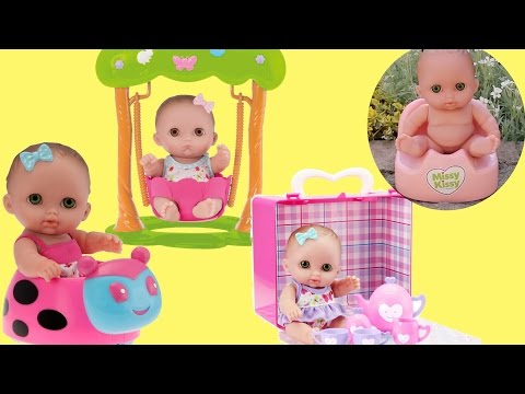 Lil Cutesies Triple Baby Doll Ride on Car,  Swing and Tea Party Play set Unboxing Play