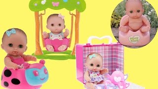 Little girl and Lil Cutesies Triple Baby Dolls Bath Time Tea Party Cupcake Sore Tummy Potty Big Poop