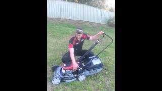 victa 2 stroke is the best mower for sloping ground above an angle of 15 deg