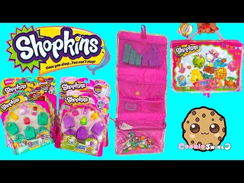 Shopkins Season 2 And 3 Carrier Carrying Case Bag + Unboxing 4 Toy Packs Cookieswirlc Video