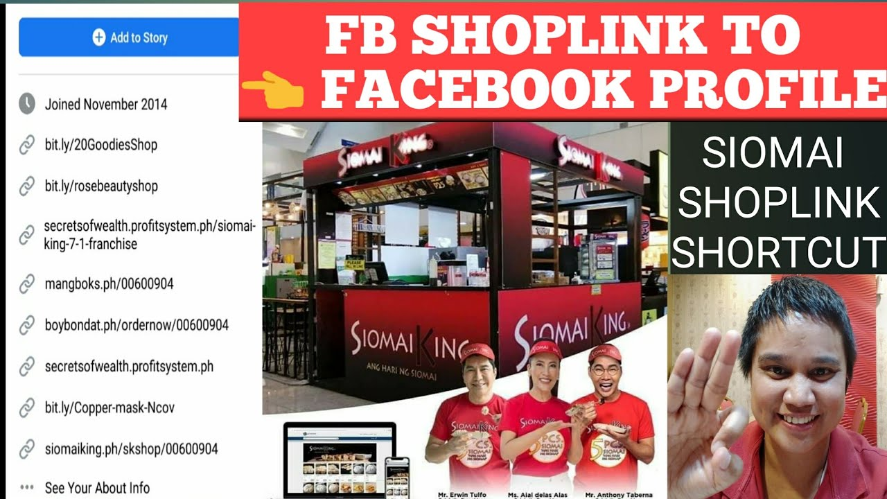 HOW TO PUT YOUR SHOPLINKS IN FB- ADD TO FACEBOOK PROFILE-WEBSITE FOODLINKS- SIOMAI KING FRANCHISE