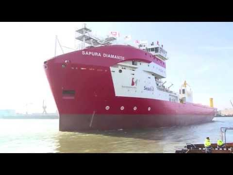 Launch ceremony for SAPURA DIAMANTE at the IHC Merwede shipyard in Krimpen aan den IJssel