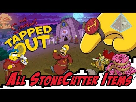 ALL STONECUTTER ITEMS  17,000 DONUTS Simpsons Tapped Out StoneCutter 2014.