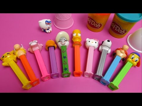 Pikachu, Hello Kitty, Pluto, Pink Panther, Asterix, Tweety PEZ Dispenser & Play Doh