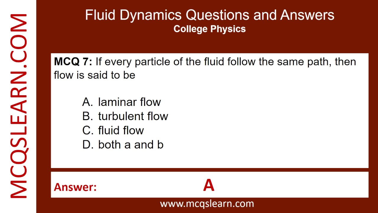 Fluid Dynamics Questions and Answers - MCQsLearn Free Videos