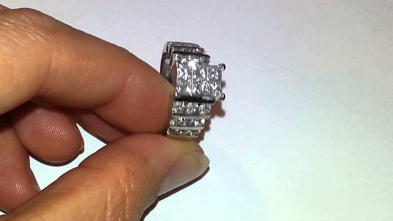 14kt Invisible set 6 Princess cut 1 5 TCW diamond engagement ring