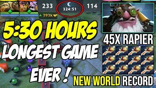 5:30 HOURS!!! LONGEST GAME EVER OF DOTA 2 | TECHIES + SNIPER 45x RAPIER 99999 GOLD NEW WORLD RECORD
