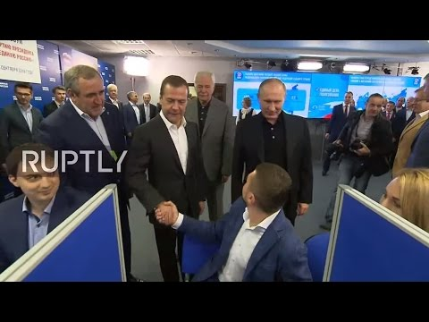 LIVE: Putin and Medvedev visit United Russia HQ after election polls close in Moscow