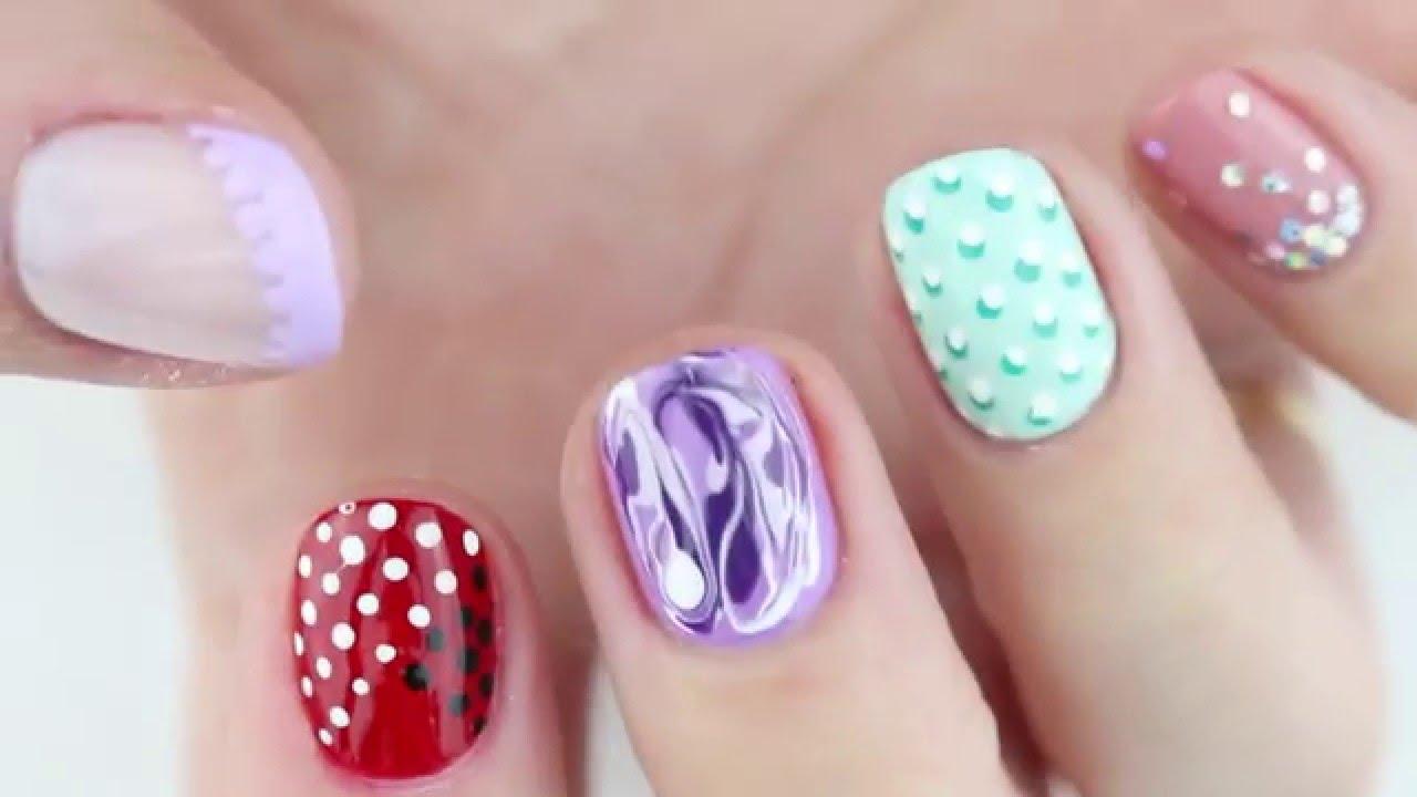 5 nail design toothpicks