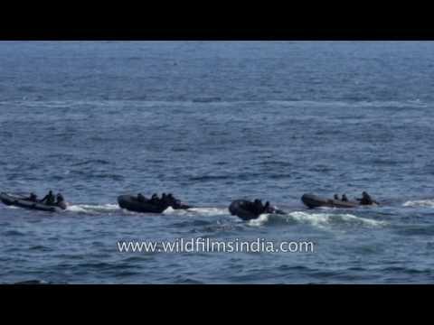 Indian Marine commandos demonstrate surviving skills in Bay of Bengal
