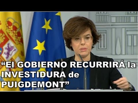 SORAYA SAENZ DE SANTAMARIA anuncia que el GOBIERNO IMPUGNARÁ la INVESTIDURA de PUIGDEMONT