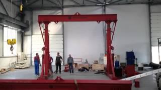 Испытание телескопического хода гидравлического подъемника(На видео представлена одна из двух секций гидравлического подъемника с телескопическими