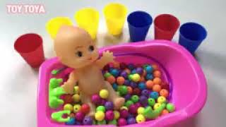 Learn Colors Baby Doll and Duck Bath Time Bubble Shower Time Creative For Children