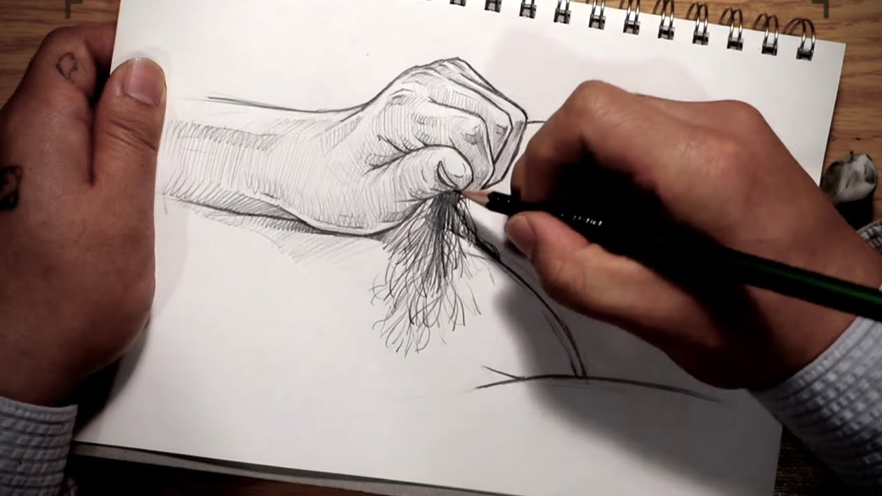 Practice drawing finger and hair. / Pencil Drawing Technique. / 4X speed Drawing process.