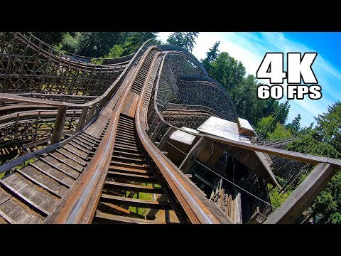 Timberhawk Wooden Roller Coaster! Multi-Angle 4K Onride POV Wild Waves Amusement Park Seattle