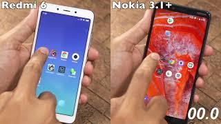 Nokia 3.1 Plus vs Redmi 6 Speed Test, Multitasking, and NAND Storage Comparison