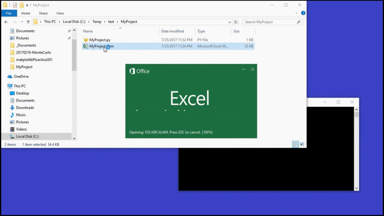 Using Python Graphics in Microsoft Excel