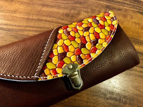 【Leather Craft】Stained Glass Leather / Making A Wallet【PDF Pattern】