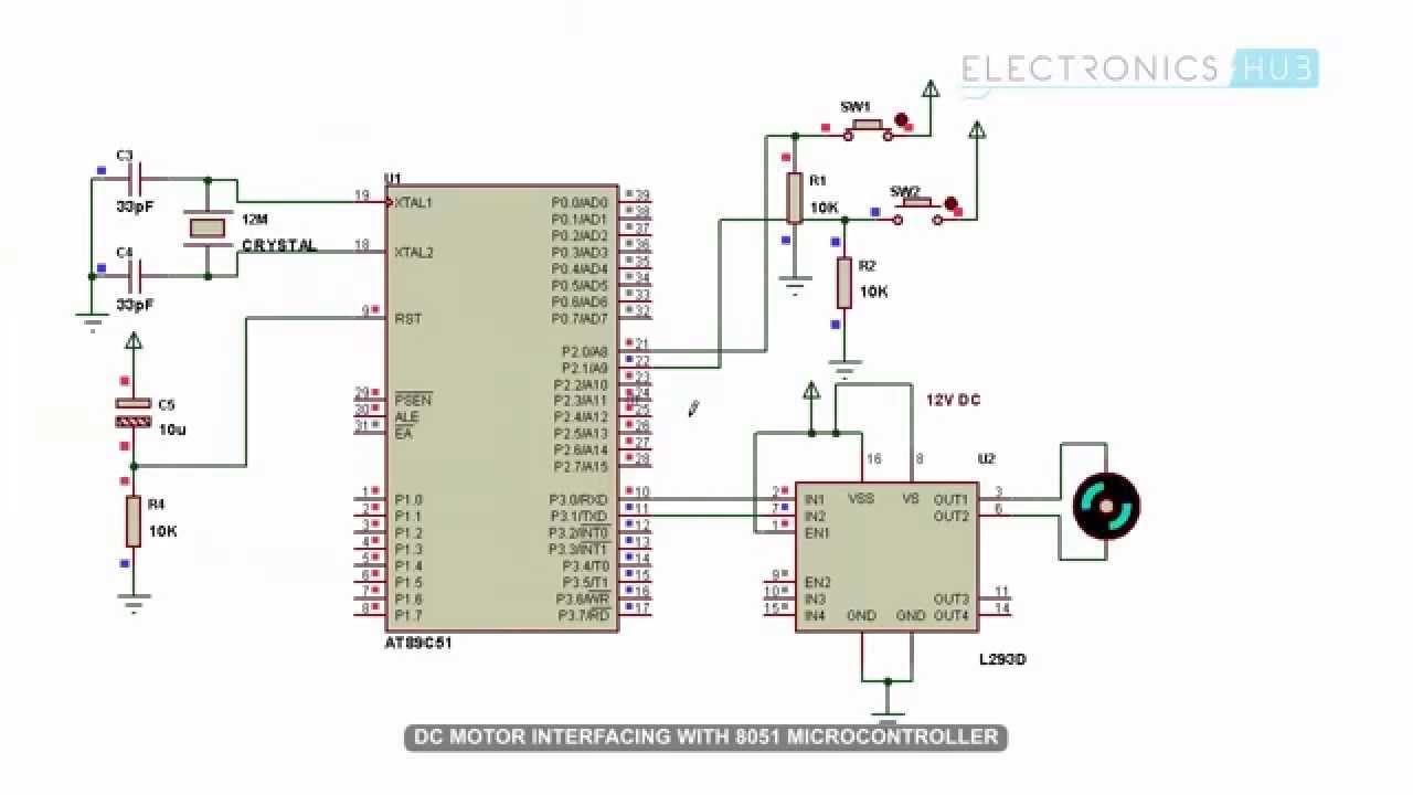 interfacing dc motor with 8051 microcontroller youtube control of dc motor using microcontroller 8051 with circuit diagram [ 1280 x 720 Pixel ]