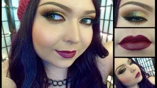 Look: Dark Side (Gold smokey eyes with a dark plum red lip) Thumbnail