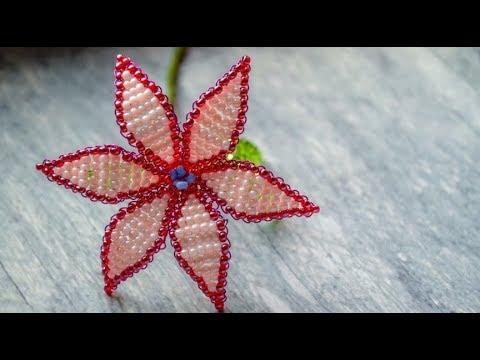 Цветок из бисера схема