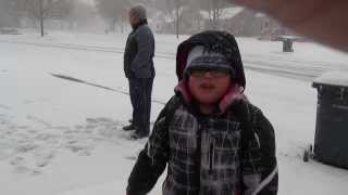 first snow on nov 11,2013 Austin Minnesota nikko going to skol.