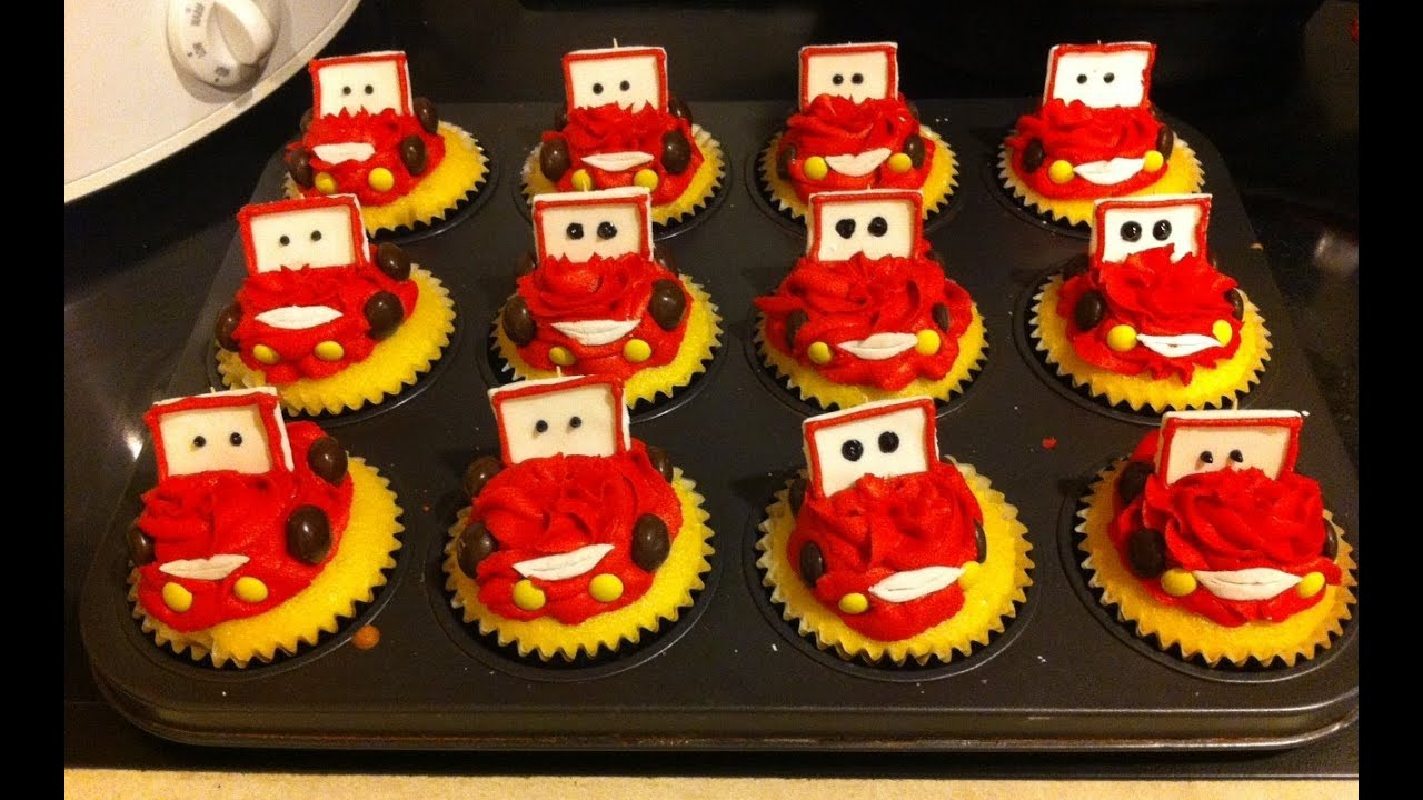 Recipes Lightning Mcqueen Cupcakes Youtube