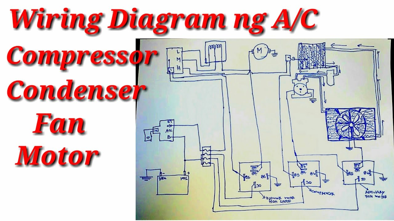 Wiring Diagram ng A/C Compressor at A/C Condenser Fan Motor - YouTube   Hvac Compressor Fan Motor Wiring Diagram      YouTube