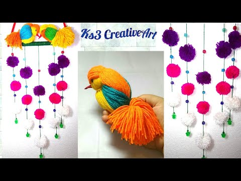 Diy woolen birds wall hanging for home decoration for Bird decorations for home