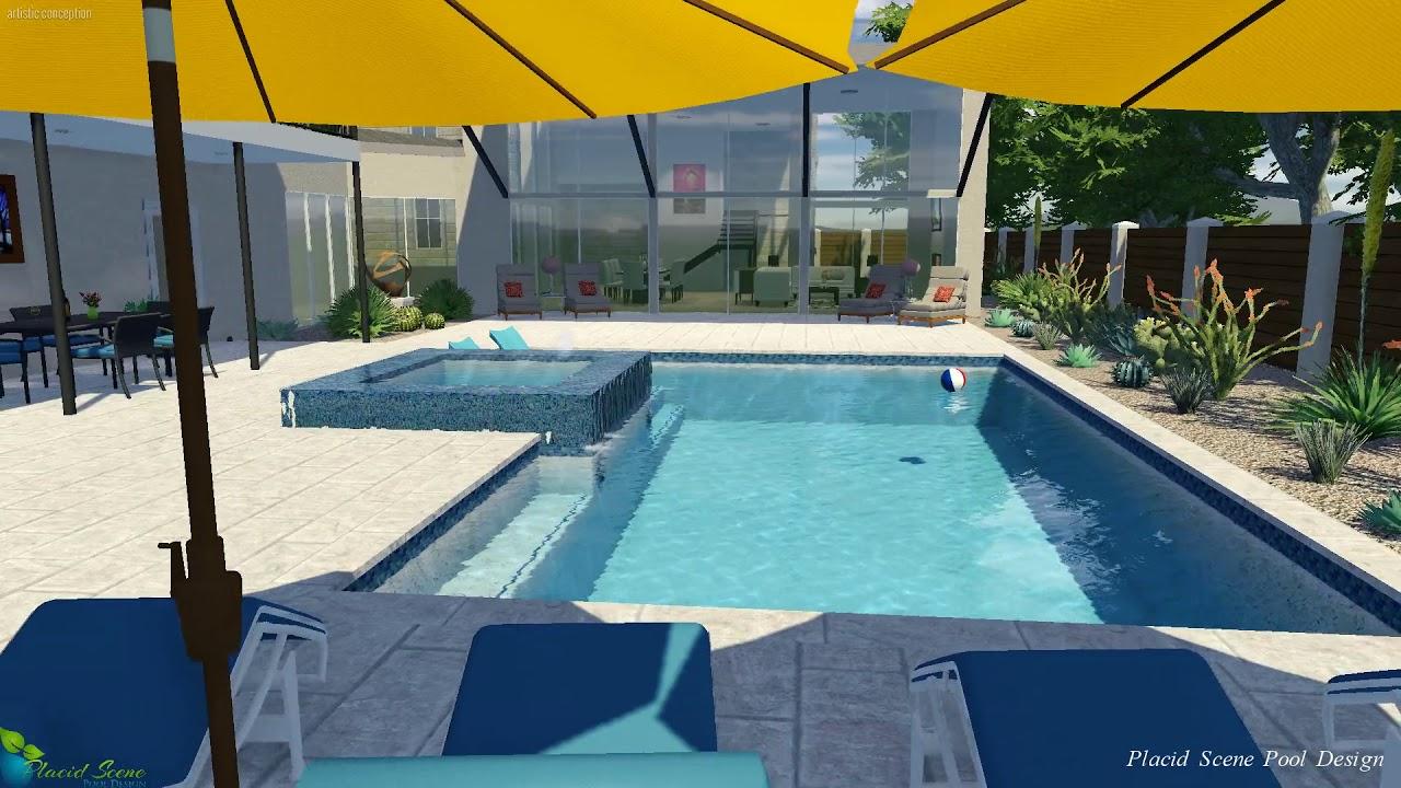 Modern Pool w/ Raised Overflow Spa - YouTube