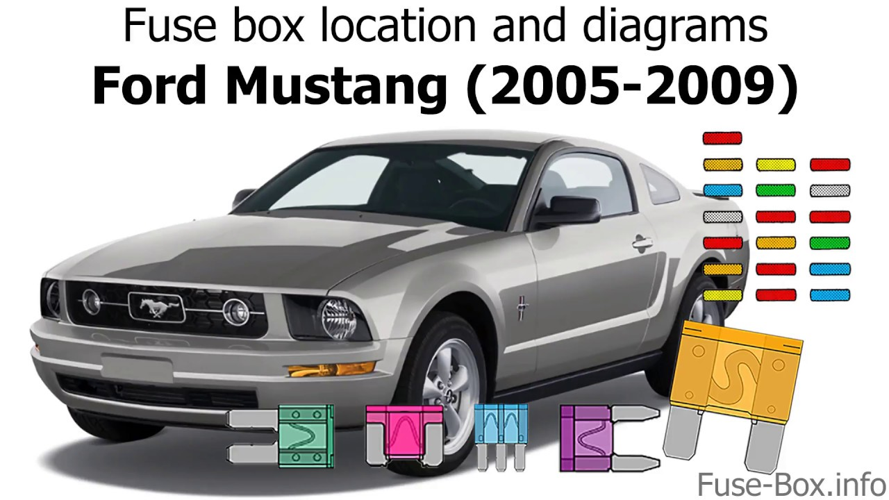 Fuse box location and diagrams: Ford Mustang (2005-2009) - YouTube | Mustang 05 09 V6 Fuse Box Diagram |  | YouTube