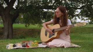 Slide Shot of Beautiful Girl Playing Acoustic Guitar in Park. | Stock ...