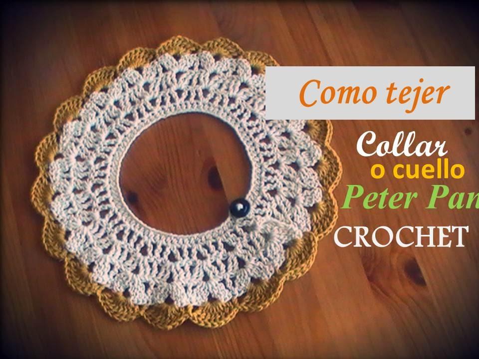 Como tejer el collar o cuello Peter Pan a crochet (diestro) - YouTube