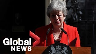 British Prime Minister Theresa May delivers emotional resignation speech