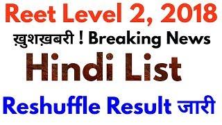 Reet Level 2 Hindi Reshuffle Result Cut off 2018   रीट लेवल 2 हिंदी रिसफल परिणाम जारी