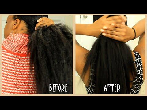Coarse Yaki to Keratin Pin Straight hair ( At Home Keratin Smoothing Treatment) | Abbyliciouz