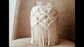 KAVANOZDAN MAKROME MUMLUK YAPIMI / how to make macrame vase