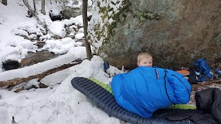 NO TENT Winter Camṗing Under a Rock - Winter Hiking & Camping in New England.