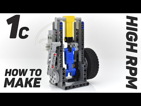 How To Make a Lego Technic high rpm 1 Cylinder Pneumatic Engine
