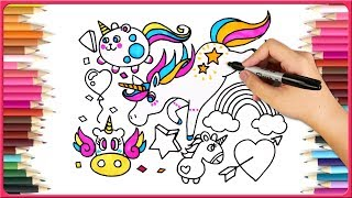 How To Draw Cartoon| Drawing For Kids | Unicorns On Rainbows | Unicorns Coloring Book |Easy Drawings