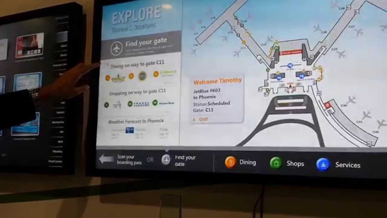 Digital Signage Interactive Kiosk Airport Wayfinding With Boarding